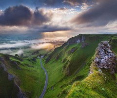 sunrise at winnats pass, derbyshire, england