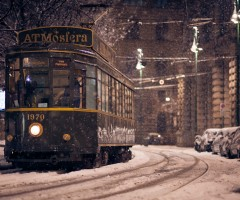 tram in winter, milan