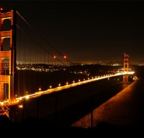 golden bridge at night