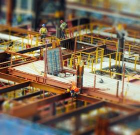 tilt shift construction workers