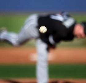 baseball pitcher, focus on the ball