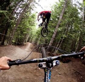 bike jumping forest roads