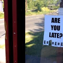 bus station funny flier