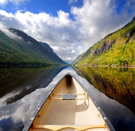 canoeing into reflection