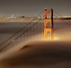 fog over golden gate bridge