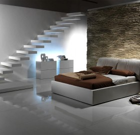 modern lower level bedroom