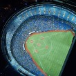 aerial view of rogers center at night, toronto