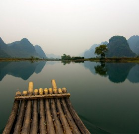 raft floating on river