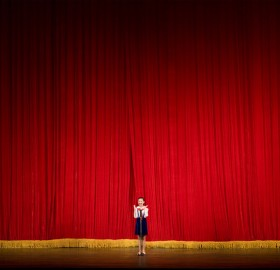 school girl performing, north korea