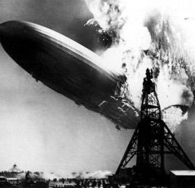 zeppelin on fire