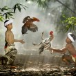 children and roosters, indonesia