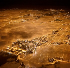aerial of chicago at night with fog