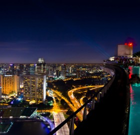 singapore`s sky park pool at night