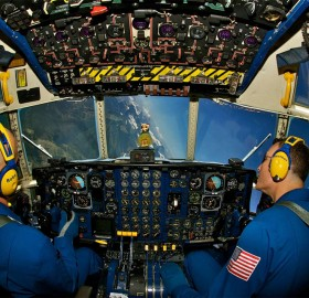 u.s. marine pilots perform a bank over glacier national park