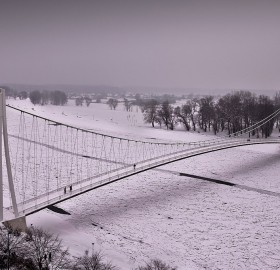 bridge over ice river, croatia