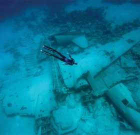 freediver over the airplane wreck in the bahamas
