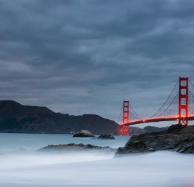 golden gate bridge in a storm