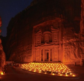 night at treasury, petra, jordan