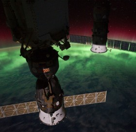 northern light from space station