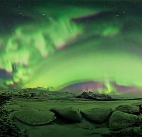 beautiful aurora night, iceland