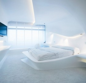 futuristic hotel room in madrid