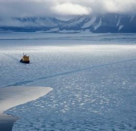 icebreaker in the ice of the arctic ocean