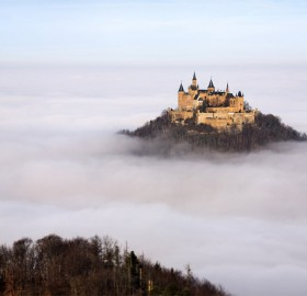 castle in germany floating above the clouds