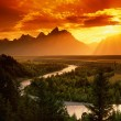 sunset over snake river