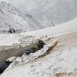 traffic in mountain pass in kashmir