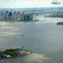 space shuttle enterprise over new york