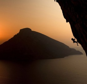 climbing on the greek island of kalymnos at sunset