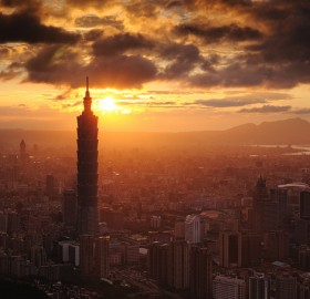 taipei city at sunset
