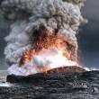 volcanic lava meets ocean water