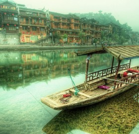 peaceful river of feng huang, china