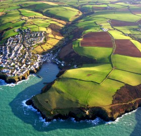 port isaac, england, from above