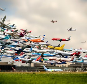 takeoffs at hannover airport, germany