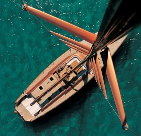 view down to the wooden modern yacht