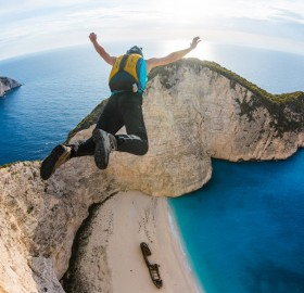 base jumping at zakynthos, greece