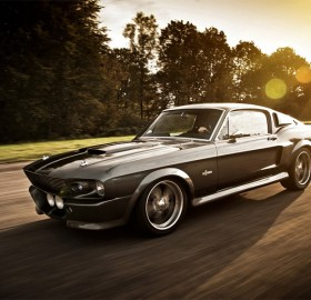 mustang shelby on the road