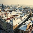 snowy rooftops, prague