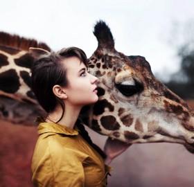 a girl and a giraffe