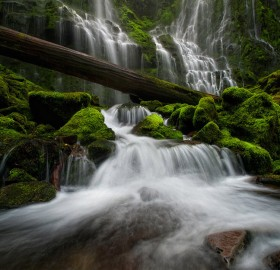mossy green waterfall