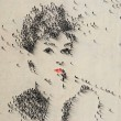 audrey hepburn portrait made out of people