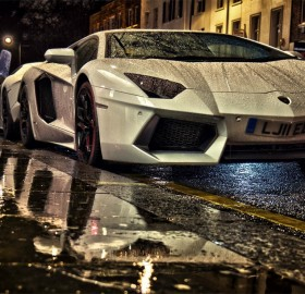 lambo on a rainy day