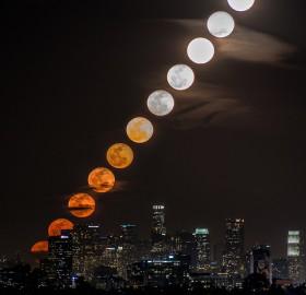 moon rise behind los angeles