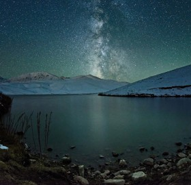 starry night over lake