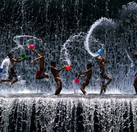 waterfall is our playground, kids of bali