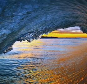 sunlight through the surf