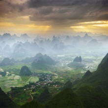 flying by hot air balloon over yangshuo, china