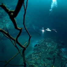 underwater river flows along mexico`s ocean floor